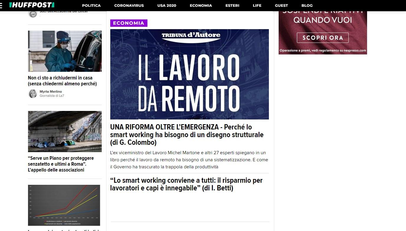 Huffingtonpost – Una riforma oltre l'emergenza. Perché lo smart working ha bisogno di un disegno strutturale – di Giuseppe Colombo