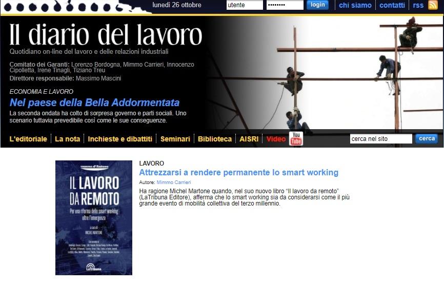 Il Diario del Lavoro – Attrezzarsi a rendere permanente lo smart working – di Mimmo Carrieri