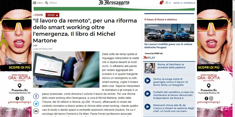 Il Messaggero – Smart working, il lavoro che cambia e lo Stato che deve fare la sua parte – di Francesco Musolino