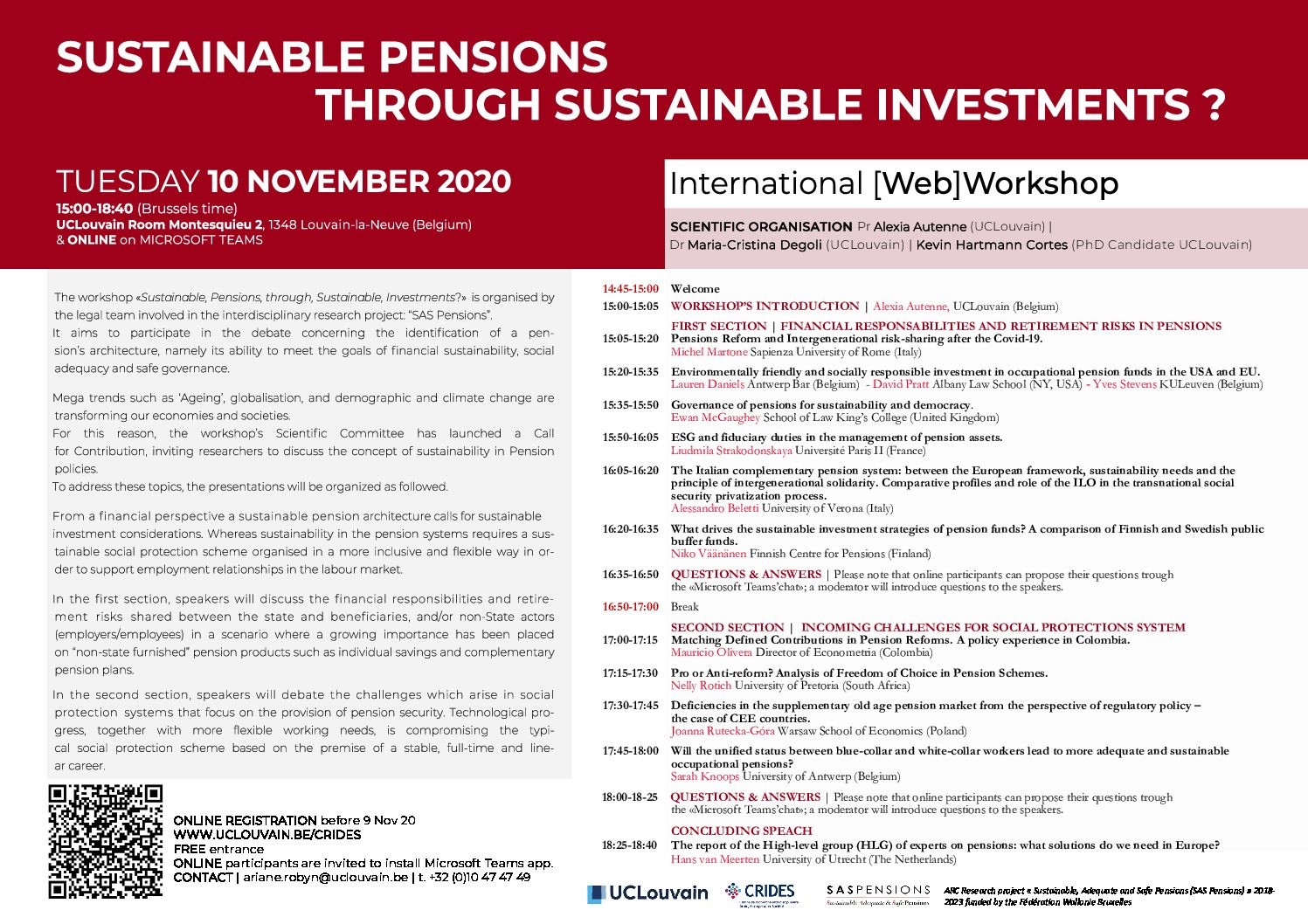 Web Workshop – Sustainable Pensions through Sustainable Investments?