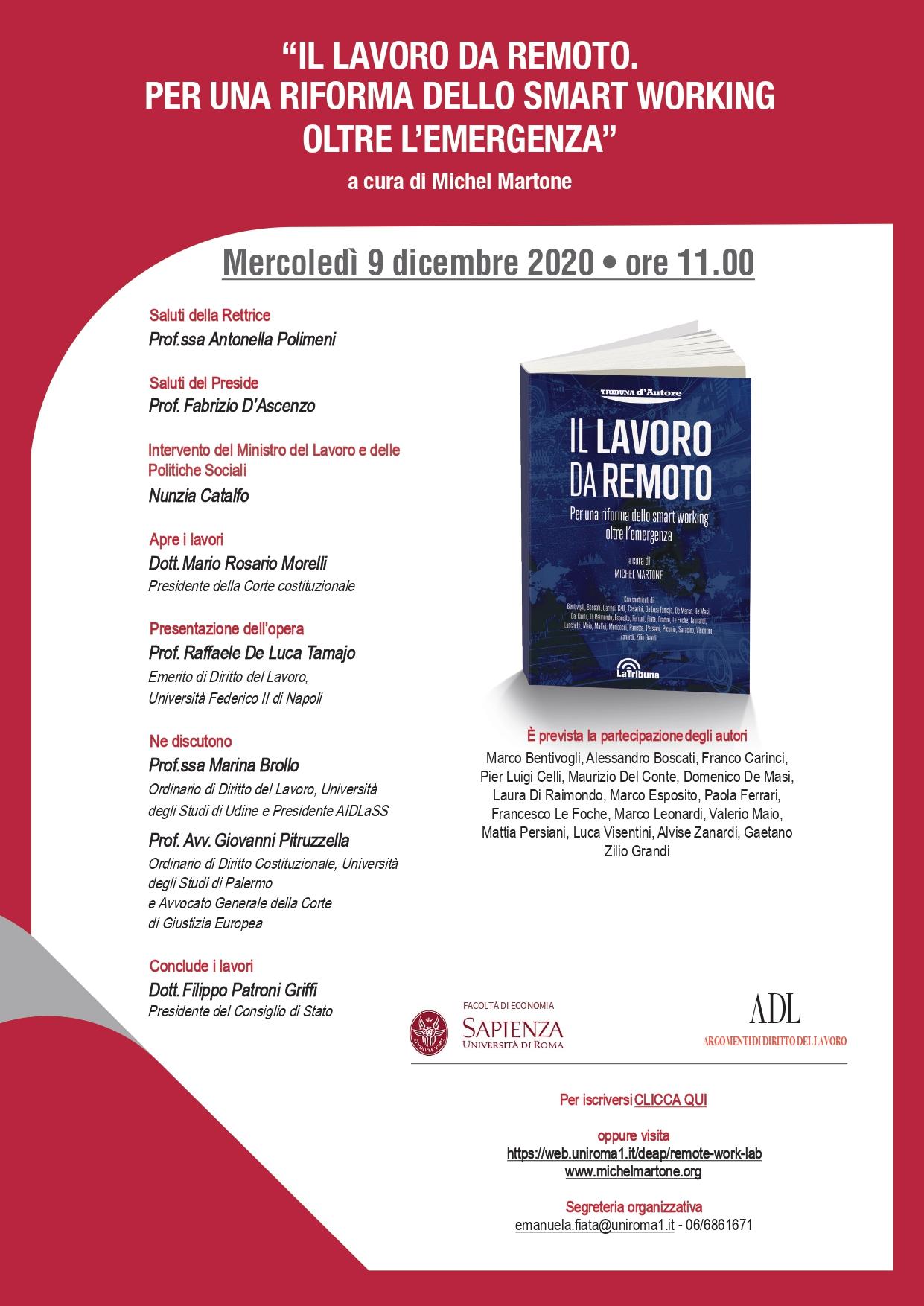 """Webinar 9 dicembre 2020, ore 11:00 – Presentazione del volume """"Il lavoro da remoto. Per una riforma dello smart working"""" – di Michel Martone"""